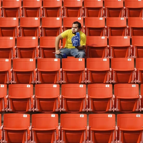 Lonely Sports Fan In Stadium