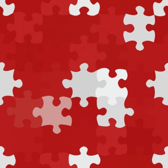 Red and white puzzle pieces