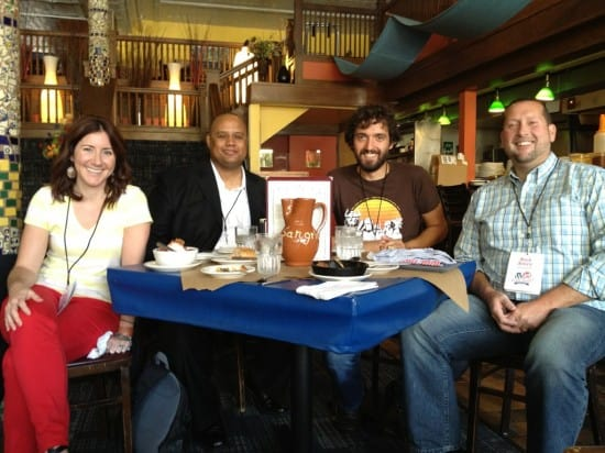 Rich Avery, Kimanzi Constable, Alana Mokma, and I at San Chez during WordCamp Grand Rapids