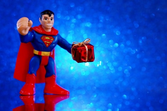 Superman Holding Gift
