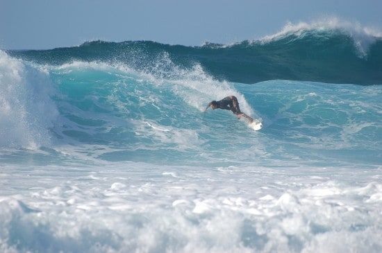 North Shore Surfer Catching A Big Wave