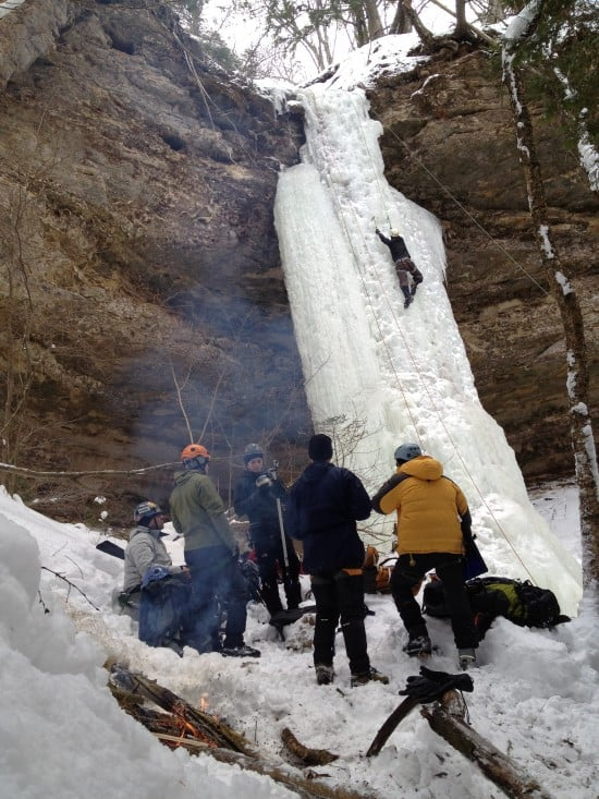 Ice climbing in Michigan