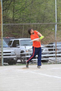 Joesph Lalonde hitting a softball