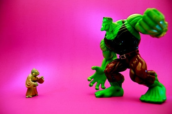 Yoda vs giant Hulk figure