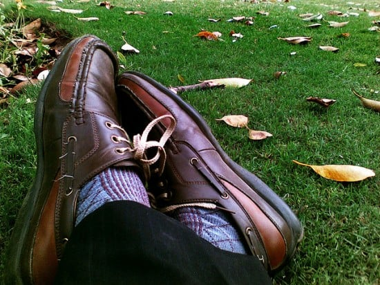 Great shoes on the grass