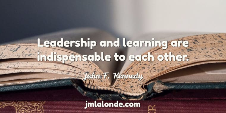 JFK Quote on learning and leadership