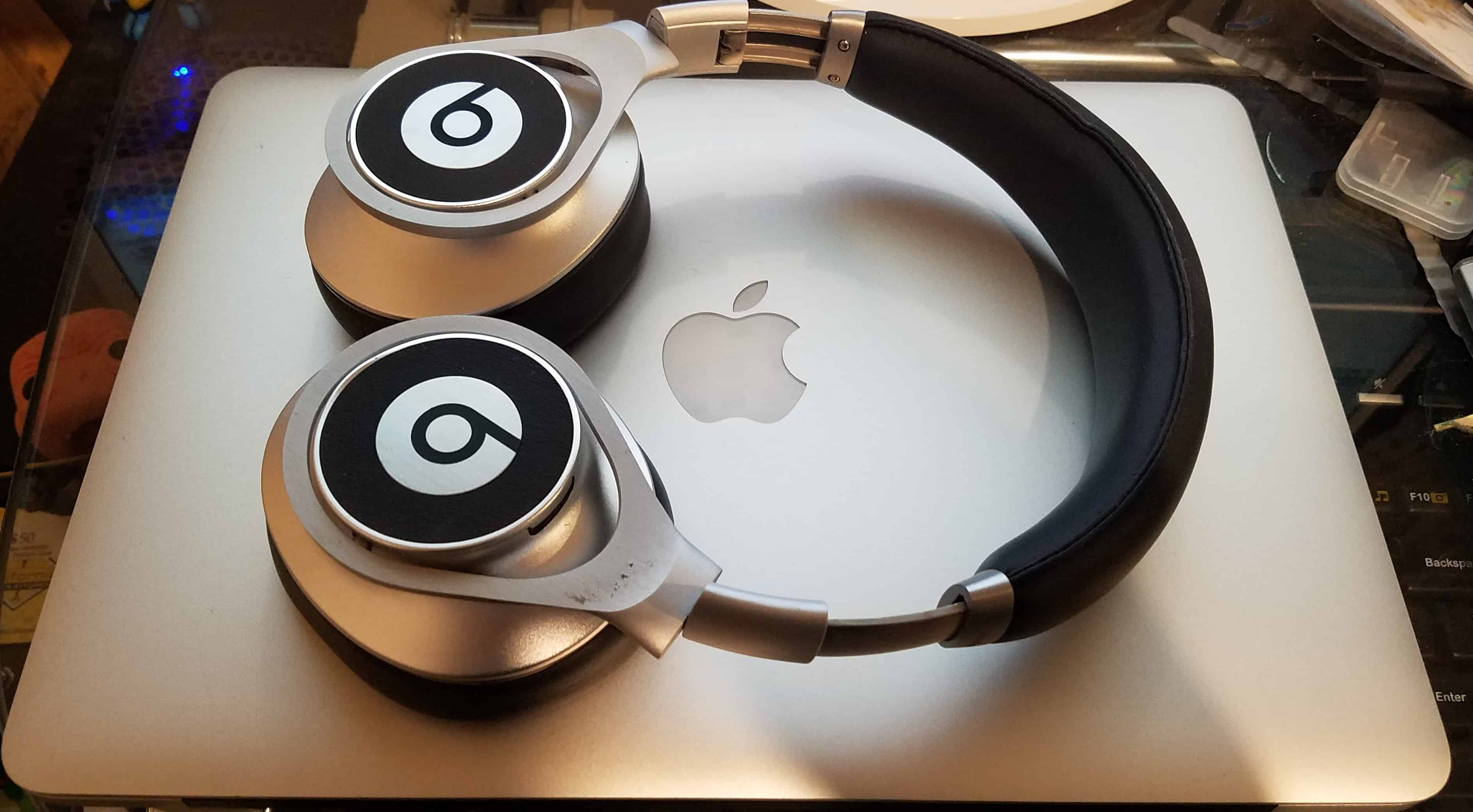 Beats by Dr. Dre Executive Noise Cancelling Headphones on a MacBook Pro