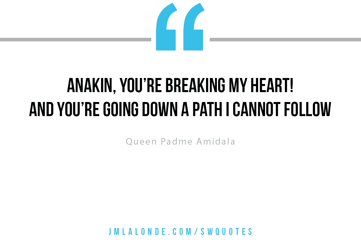 you're breaking my heart you're going down a path i cannot follow Queen Padme Star Wars quote