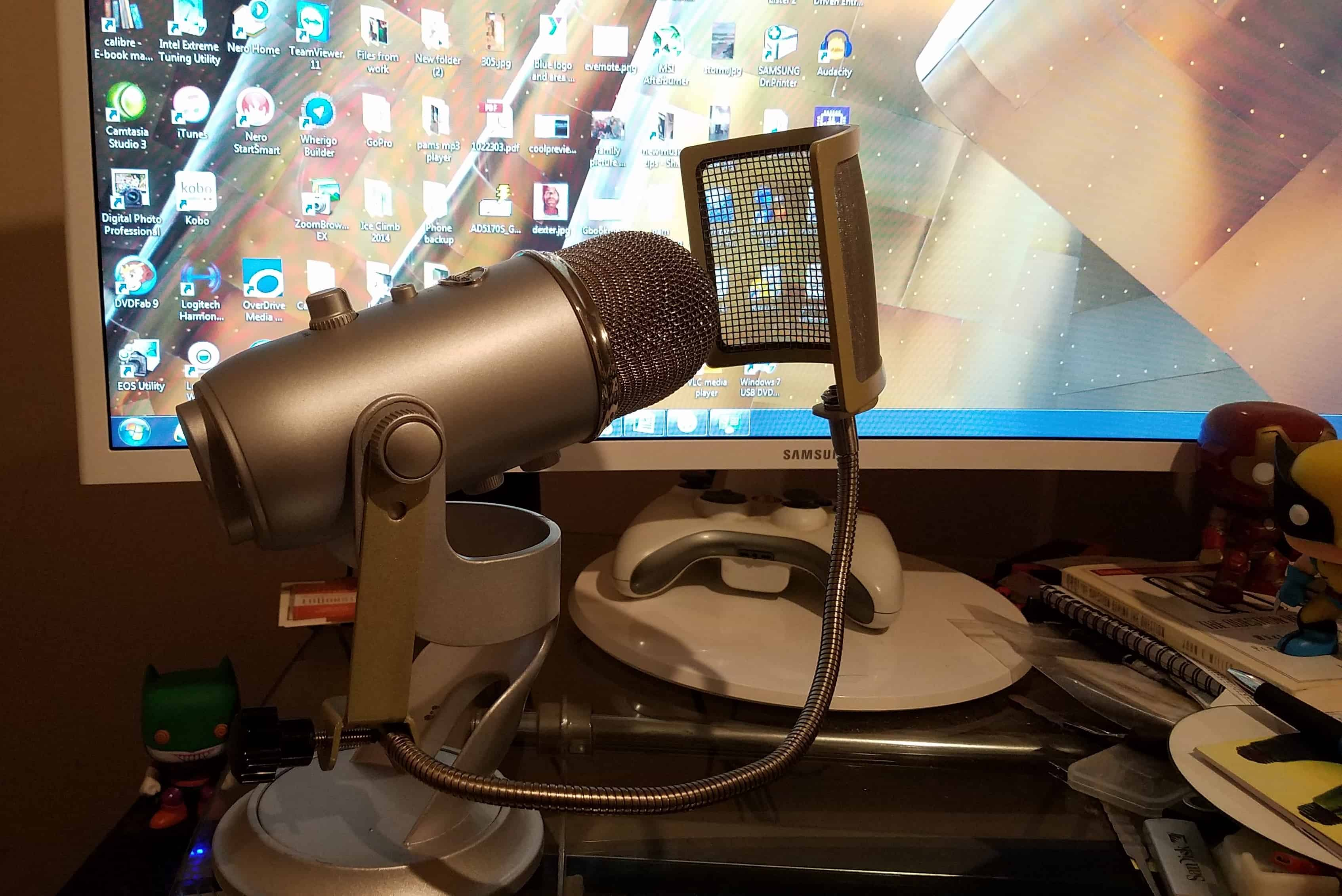 Blue Pop Filter attached to Blue Yeti microphone