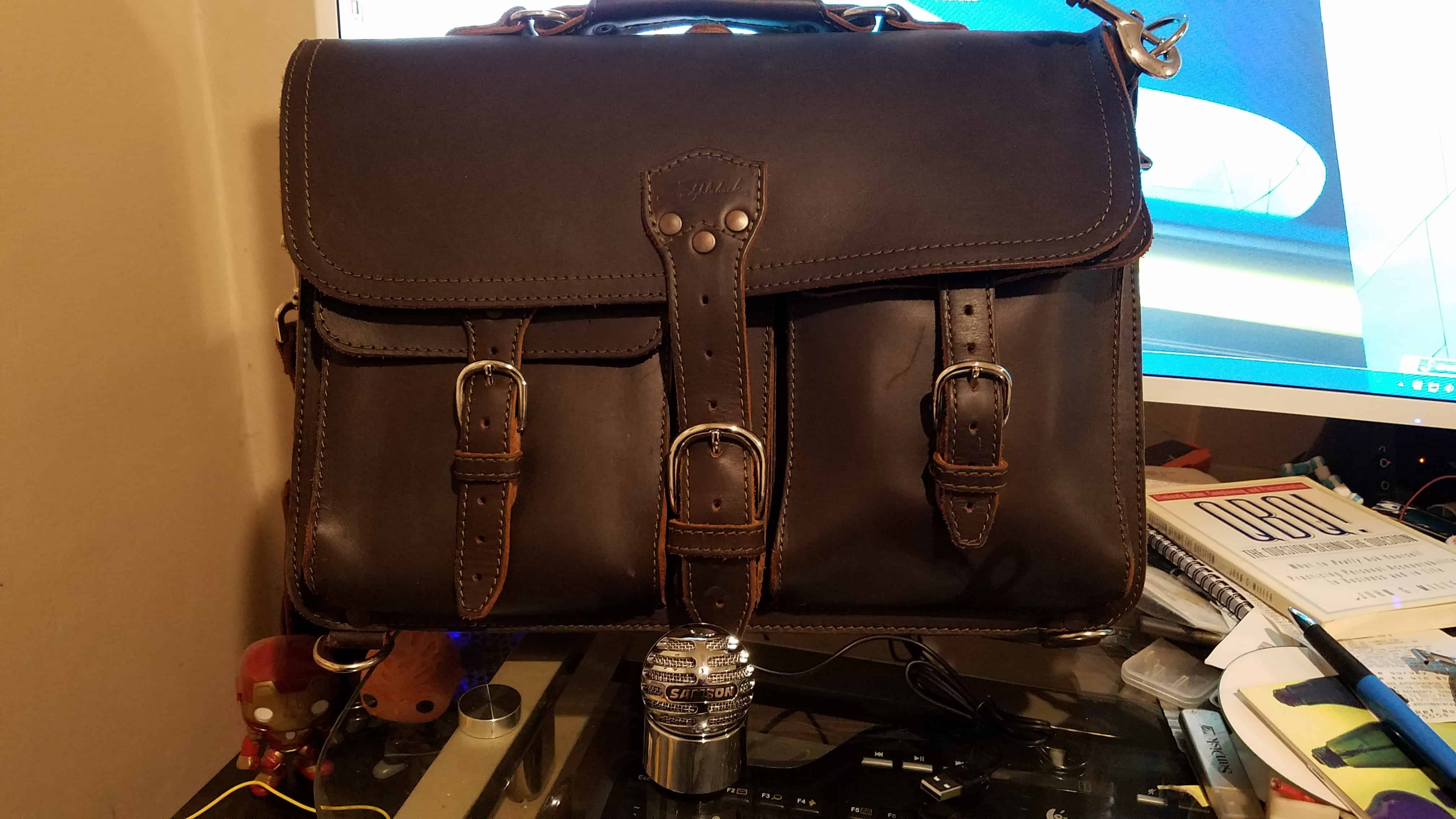 Saddleback Leather Thin Front Pocket Briefcase with Samson Meteorite microphone
