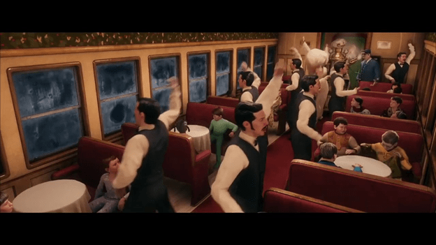 Waiters dancing in the Polar Express