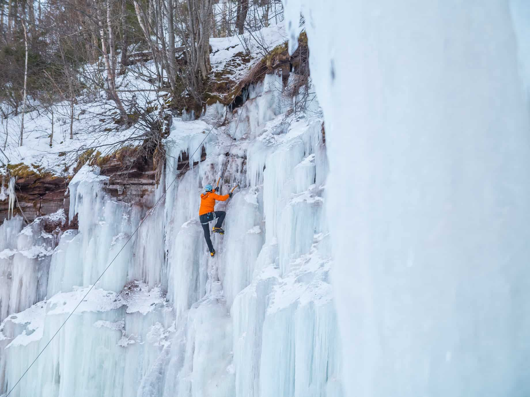 Climbing a waterfall in Houghton, Michigan