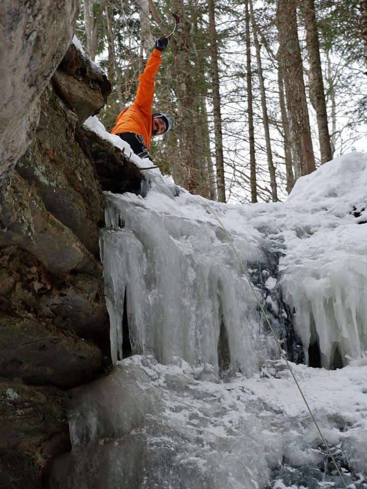 Joseph Lalonde at the top of the ice climb at Twin Falls in Munising Michigan