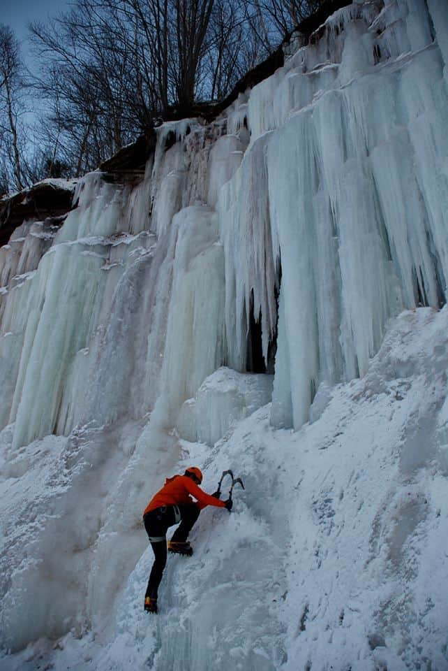 Joseph Lalonde ice climbing in Michigan