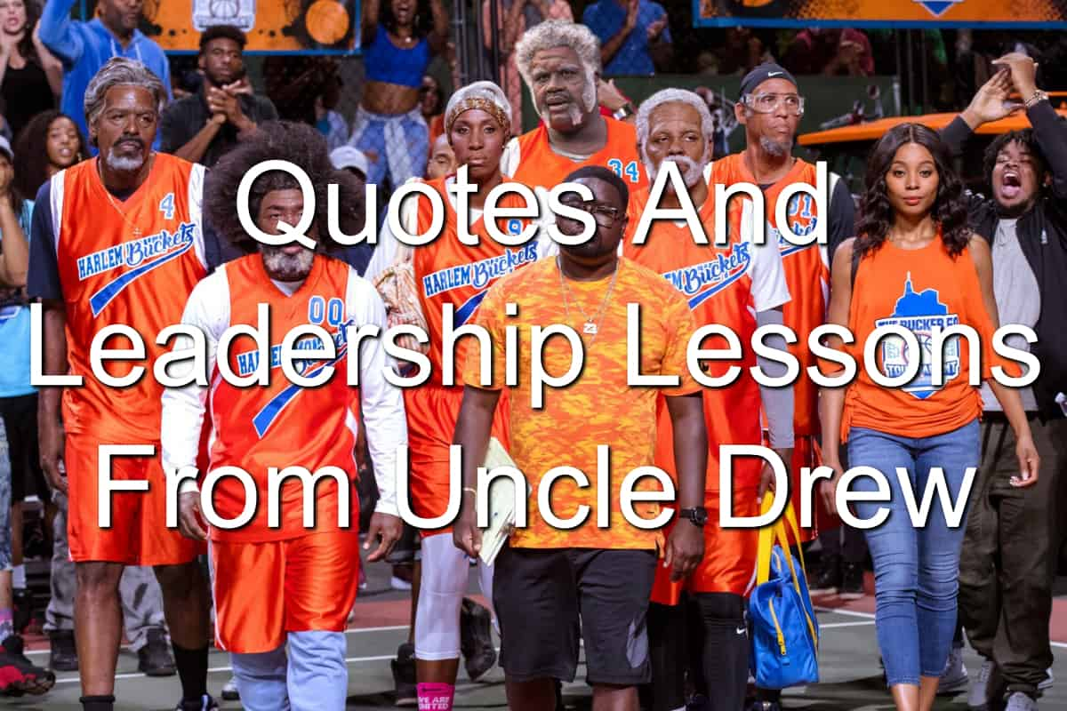 Uncle Drew cast in Harlem Buckets orange jerseys