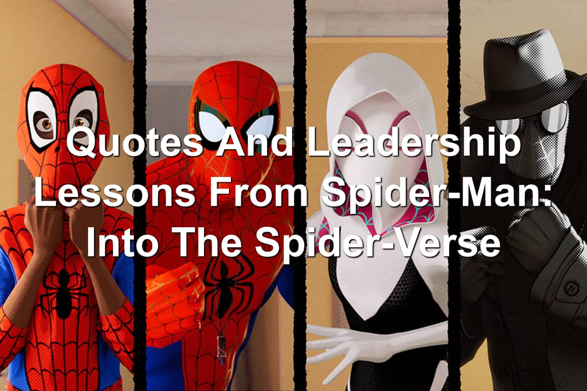 Miles Morales, Spider-Man, Spider-Gwen, Spider-Noir from Spider-Man Into The Spider-Verse