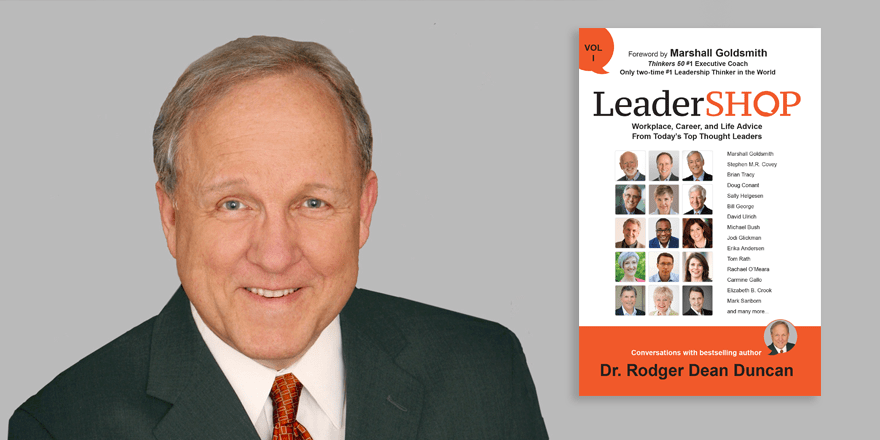 Roger Dean Duncan with his book Leadershop