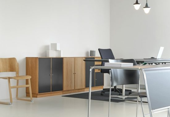 Wooden cabinets in an office setting