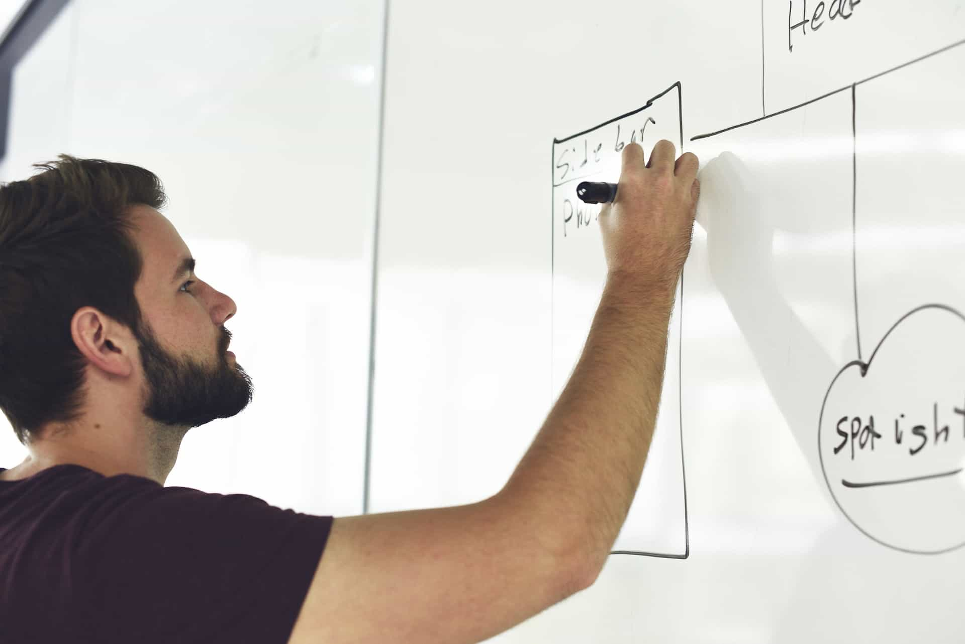 Man drawing on a whiteboard