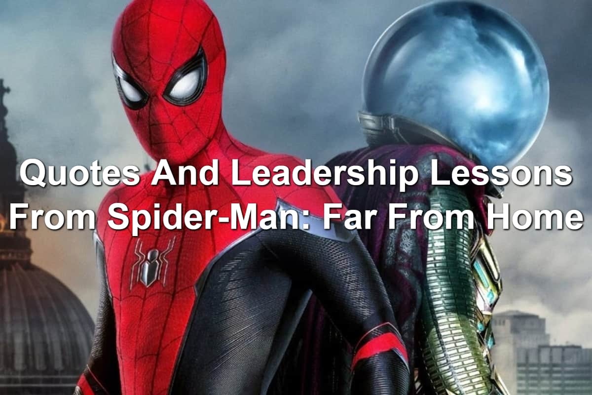Tom Holland as Spider-Man and Jake Gyllenhall as Mysterio in Spider-Man: Far From Home