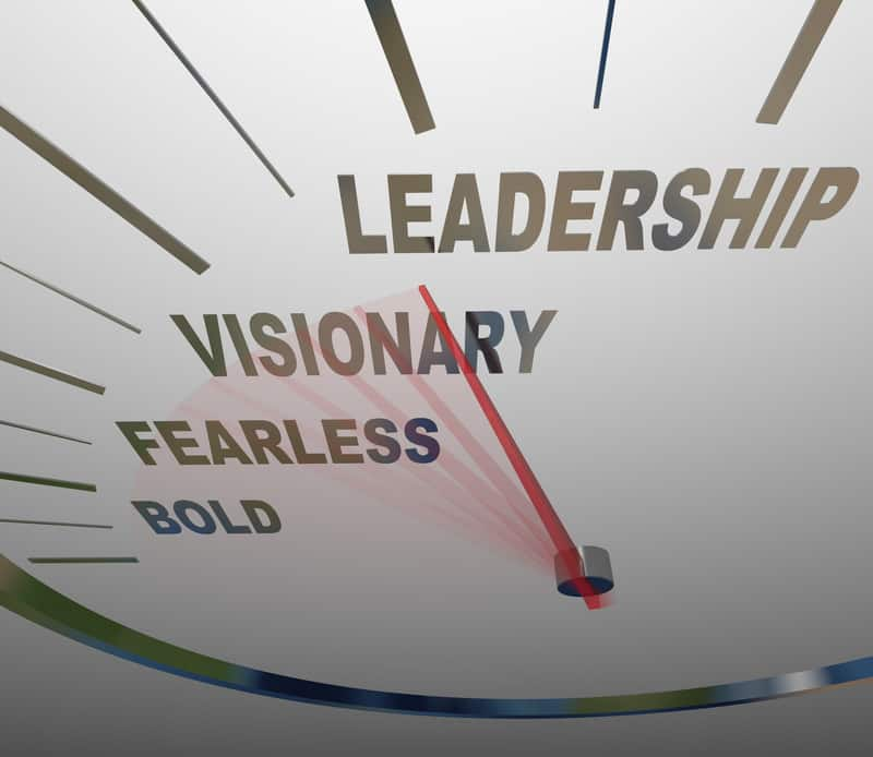 Leadership, visionary, fearless, bold on a speedometer - Grow Your Leadership Confidence