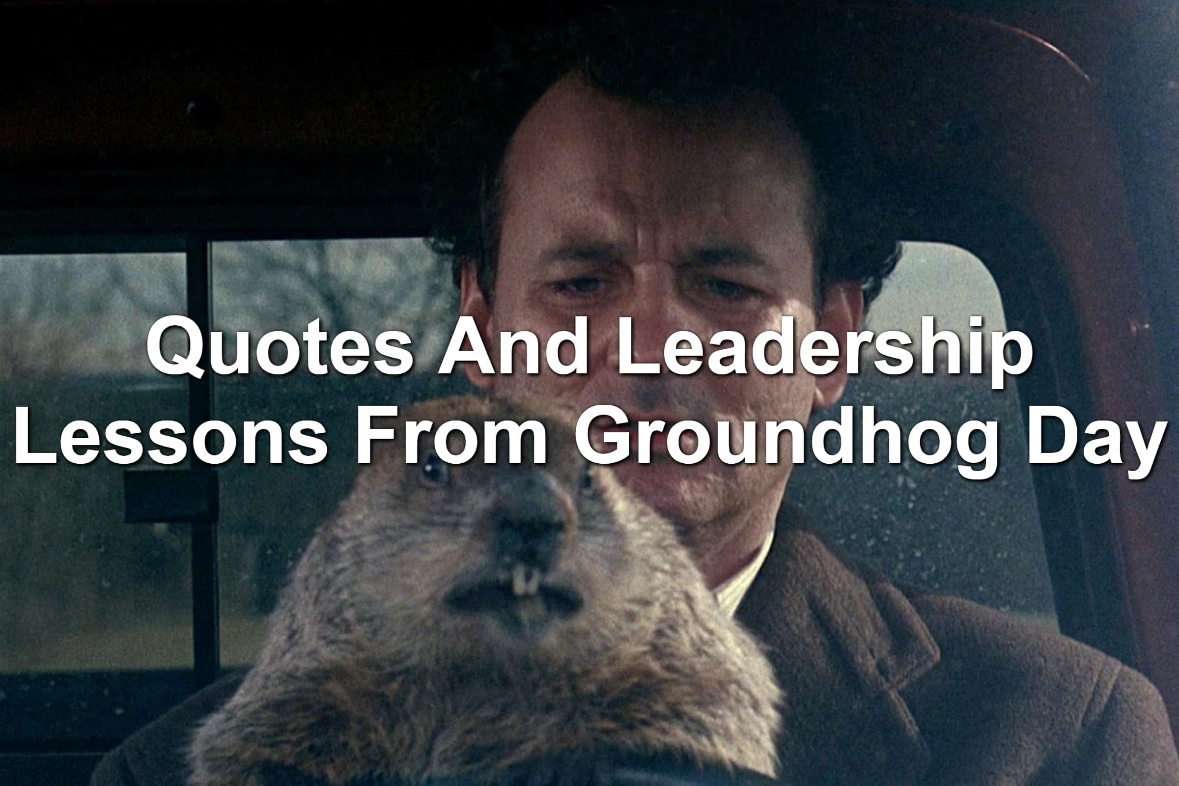 Bill Murray and a groundhog in Groundhog Day