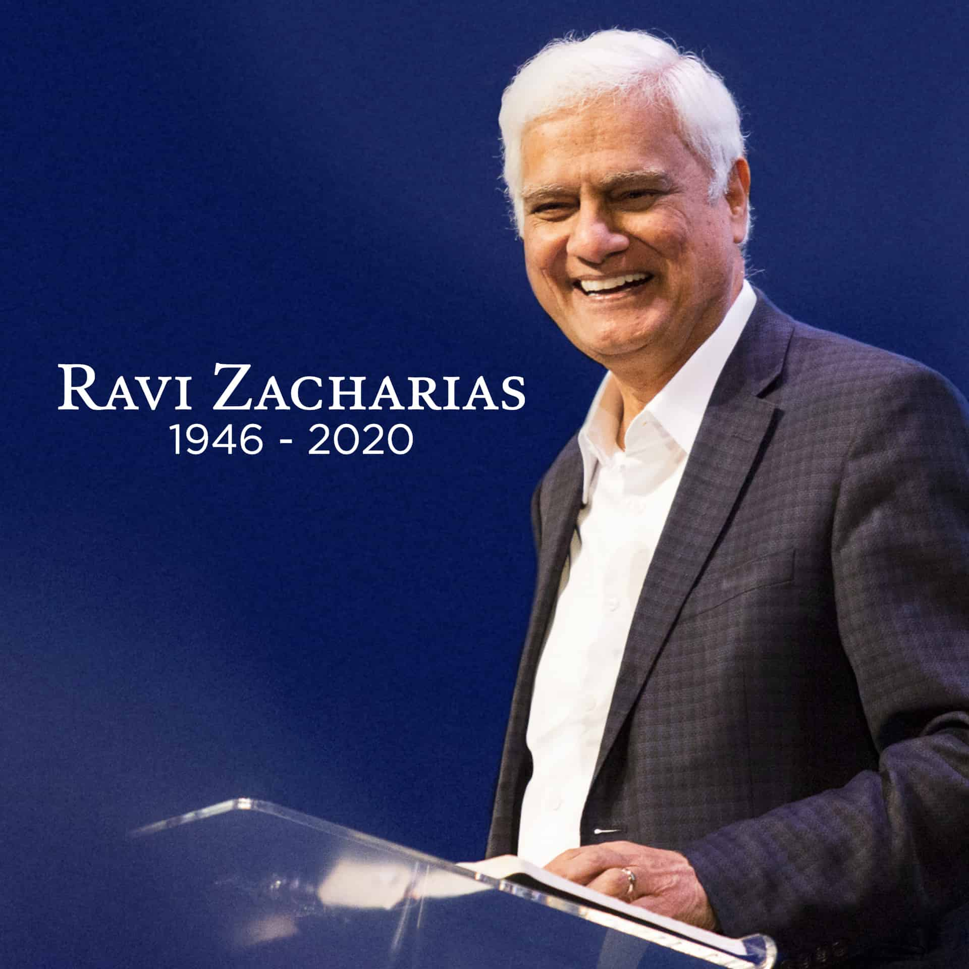 Raci Zacharias standing behind a podium. Birth and death year displayed
