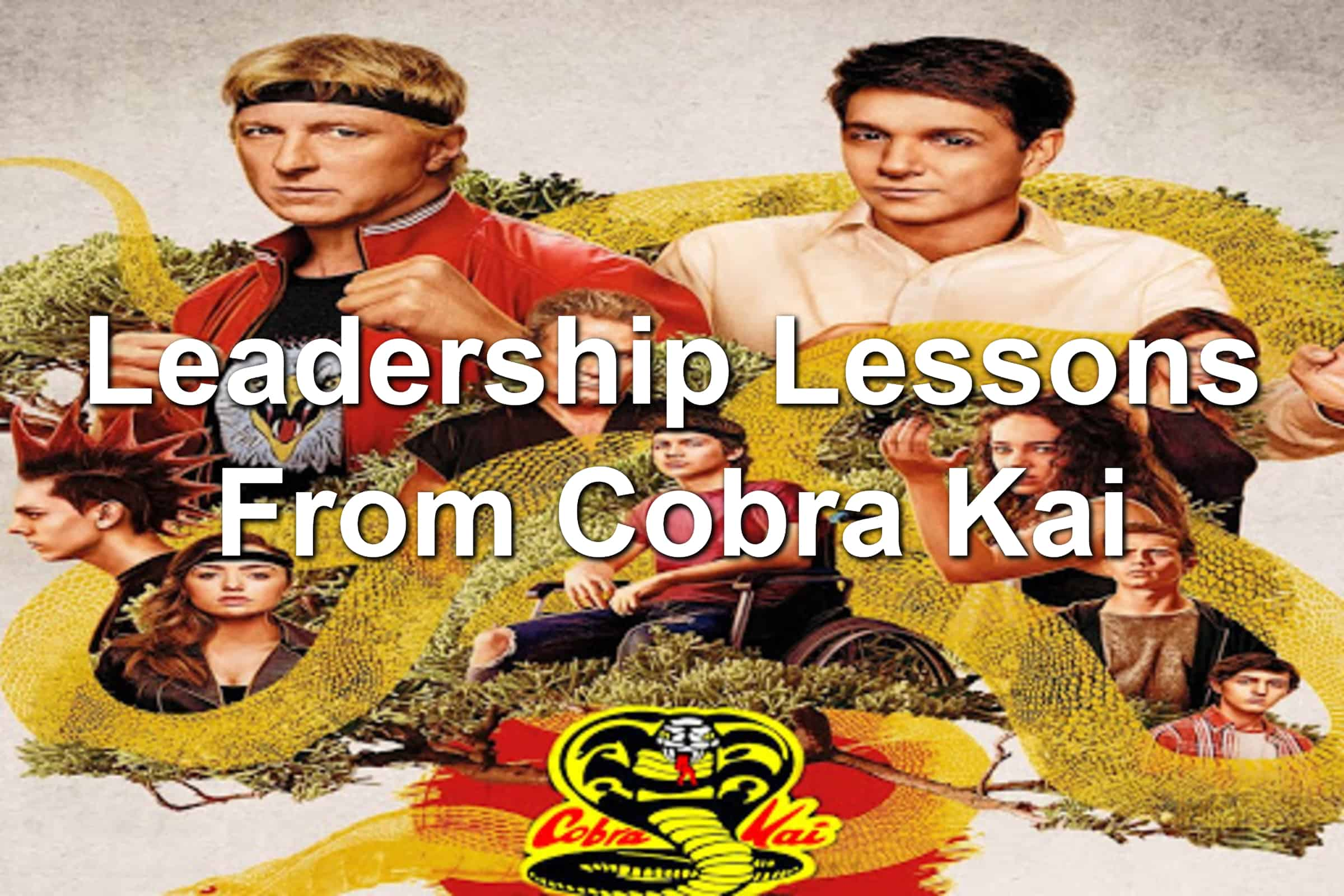 Collage of pictures from Cobra Kai TV series