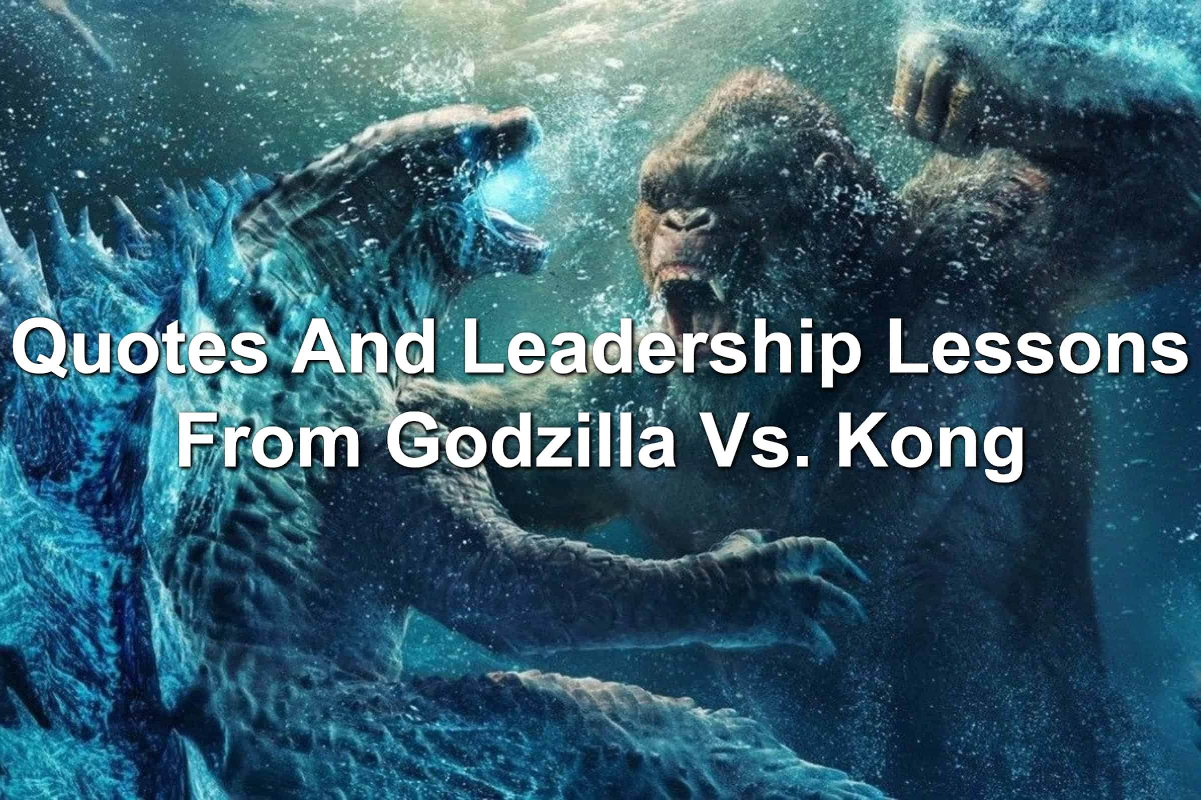 Godzilla and Kong fighting in the ocean