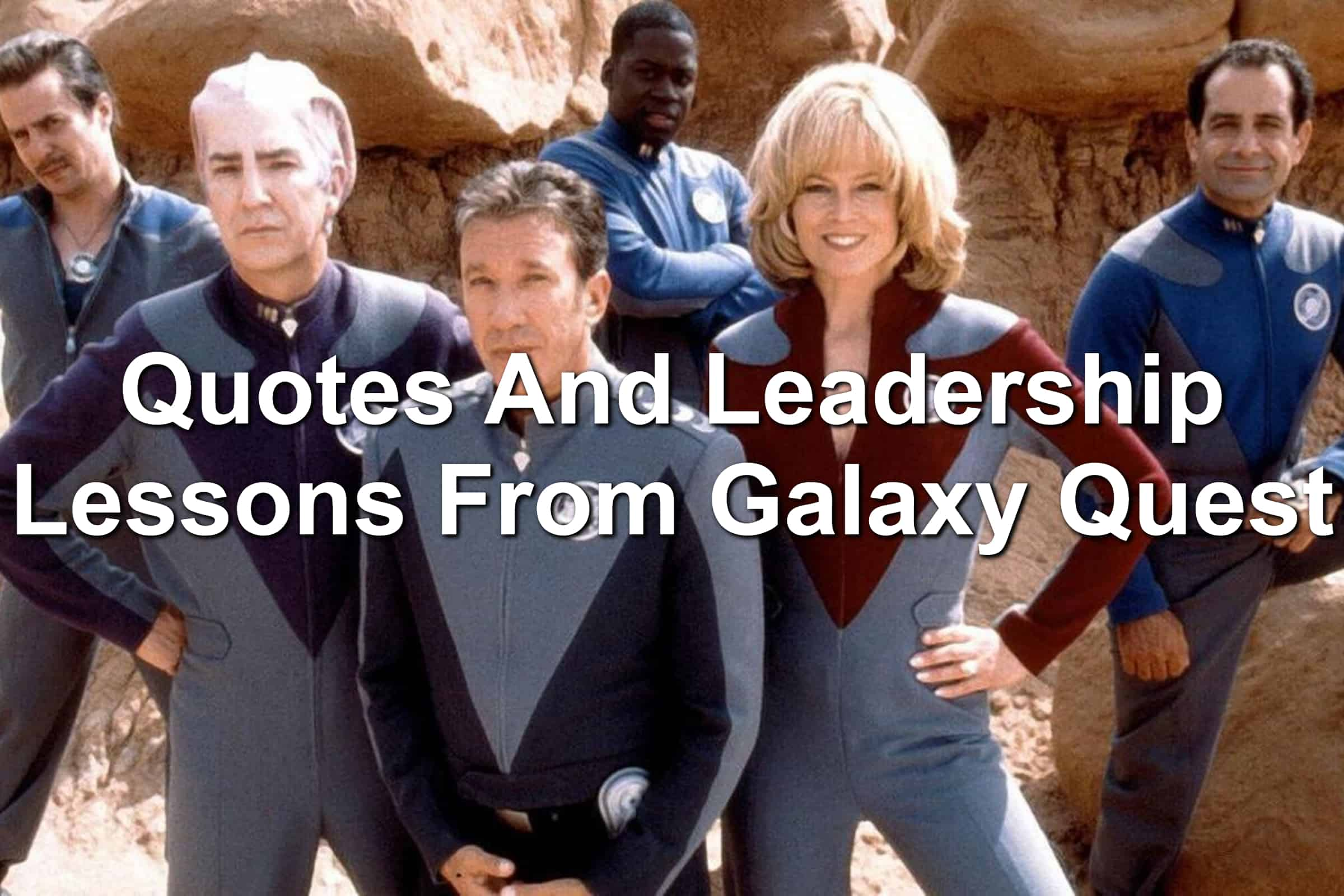 Cast of Galaxy Quest posing heroically.