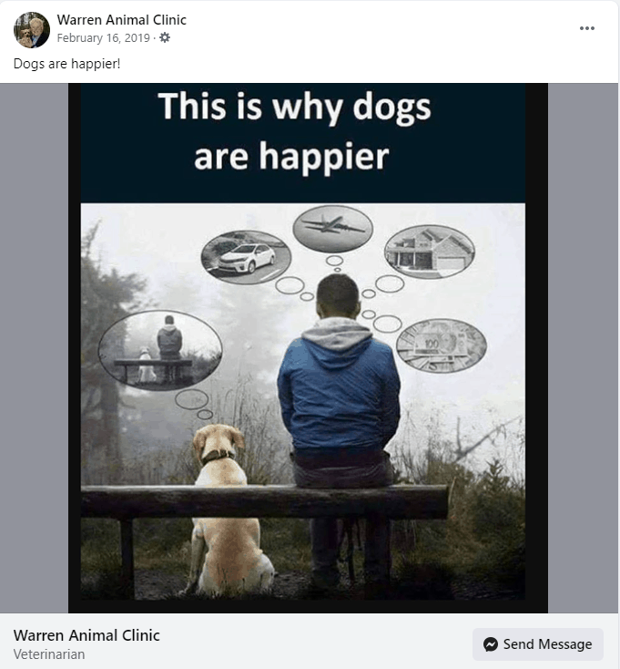 Man and dog sitting next to each other with thought bubbles