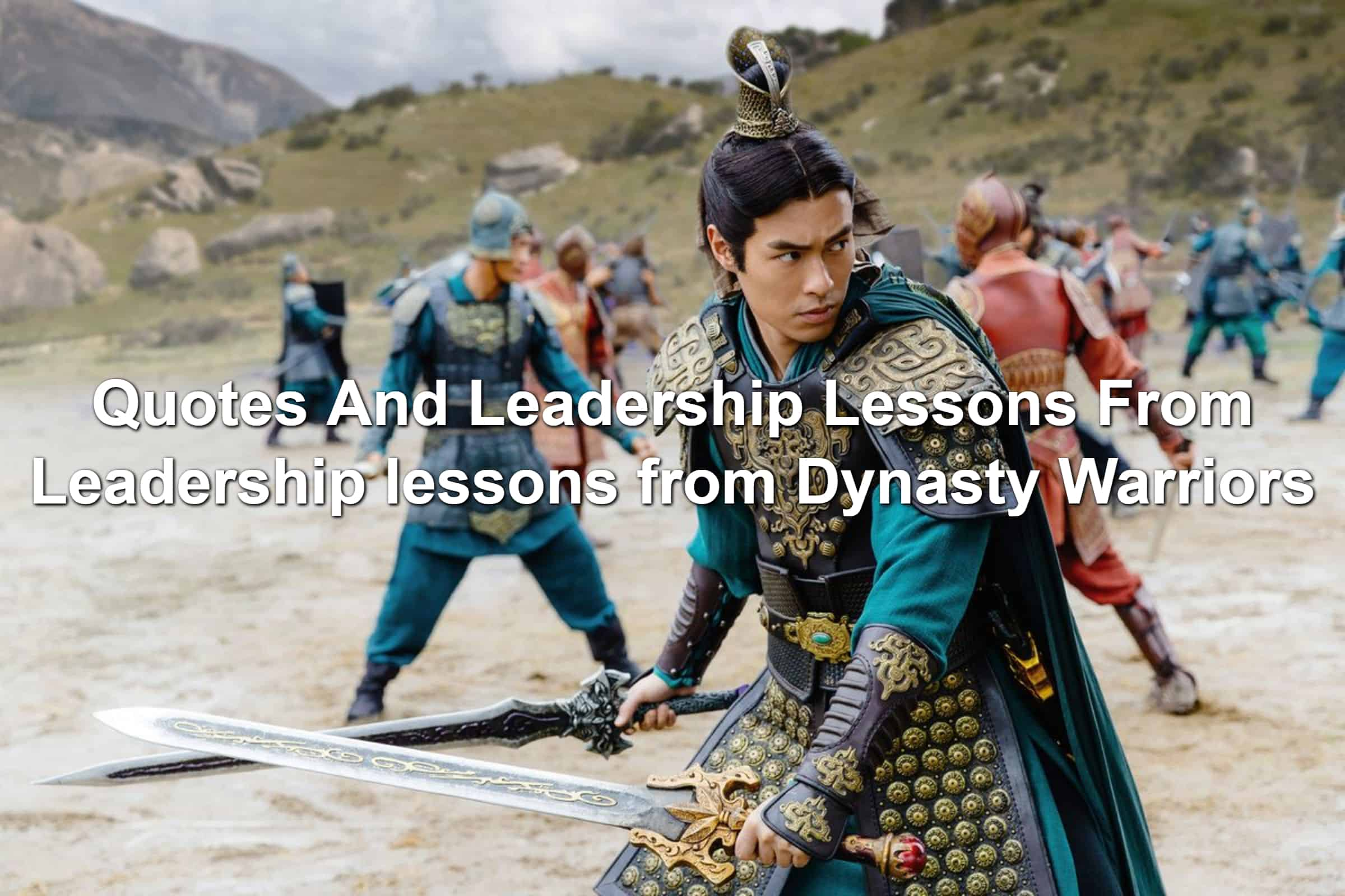 Still from Dynasty Warriors movie. Warrior in a heroic pose.