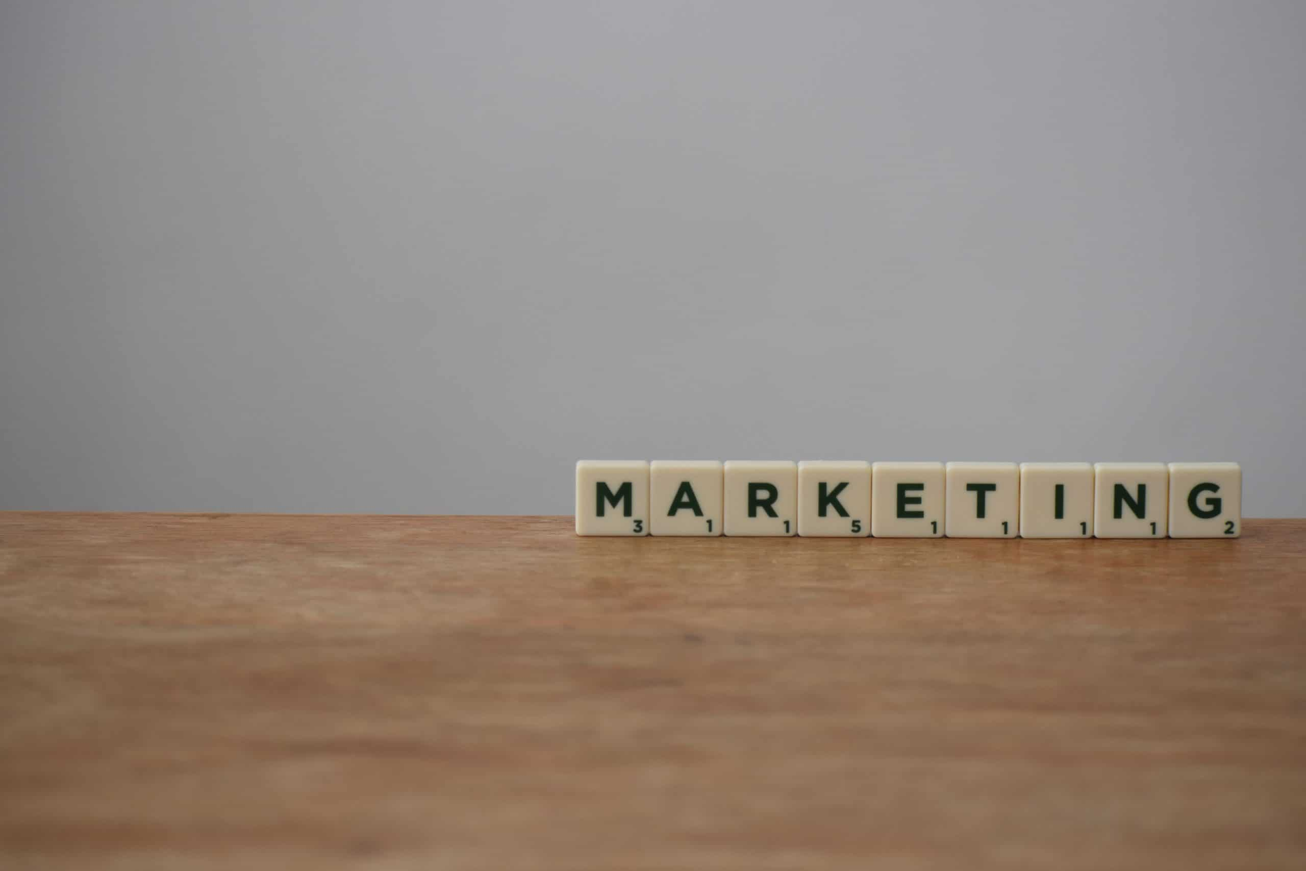Marketing spelled out using Scrabble tiles